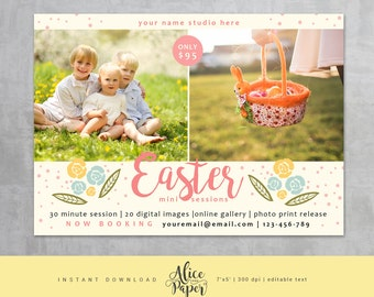 Easter Mini Session Template, Easter Mini Sessions, Easter Marketing Board, Easter Photoshop, Photography Marketing, Spring, Flowers, Dots