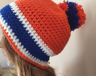 Crochet Florida gator hat, your choice with or without pompom, crochet team hat