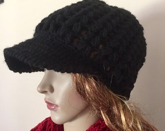 Crochet newsboy hat with brim