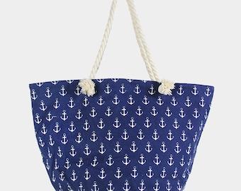 Anchor Print Canvas Zip Beach Bag
