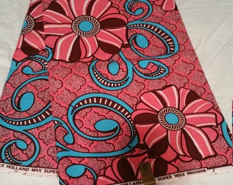 Pink and Turquoise Wax Print/AfricanPrint/Ankara