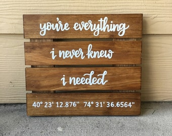 Custom Wood Sign | Personalized Wood Sign | You're Everything I Never Knew I Needed | Coordinate Sign