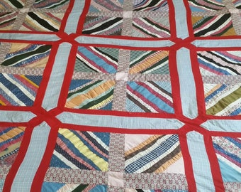 Vintage hand and machine pieced quilt top.