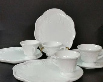 Vintage milk glass snack trays with watching cups. Grape design.  4 sets