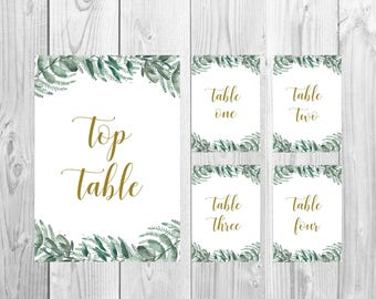 Wedding Table Number Cards 1-20 + Top Table A5 {Greenery} - DIGITAL DOWNLOAD