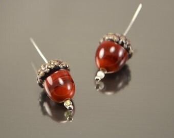 Acorn beads (2pcs), handmade lampwork forest beads,Glass beads, Artisan lampwork beads, forest beads, Lampwork acorn, glass acorn