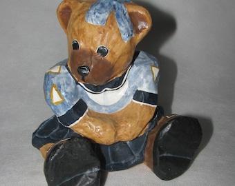 Paper mache FIGURINE hand made Teddy Bear Girl sitting lovely blue dress