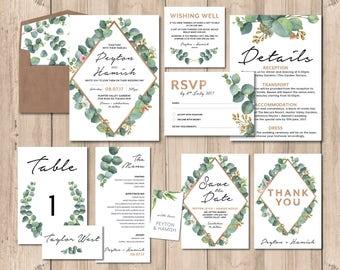 Greenery wedding invitation set, wedding invitation suite, wedding stationery set, wedding invitation, printable wedding invitation (Peyton)