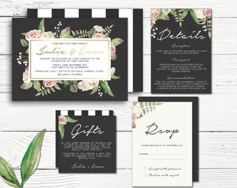 PRINTED floral wedding invitation suite, rose wedding invitation suite, charcoal, gold, blush, beige, printed suite, set (Midnight Rose)
