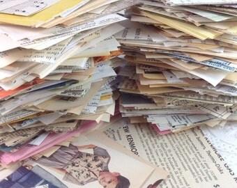 100 Piece Vintage Mini  Paper Stack, Junk Paper Stack, Junk Journal, Mixed Media, Mini Paper Stack,