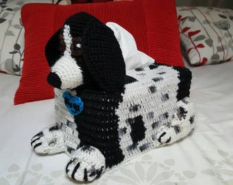 Custom made Dog Crochet Tissue Box Cover with or without heart motif. Made to match a photo of your Puppy Dog