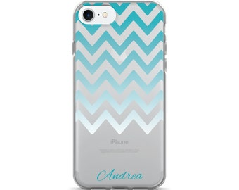Teal Ombre Chevron iPhone Case   iPhone 7 Case   Monogram Phone Case   Modern Cell Phone Case   Other Models Available
