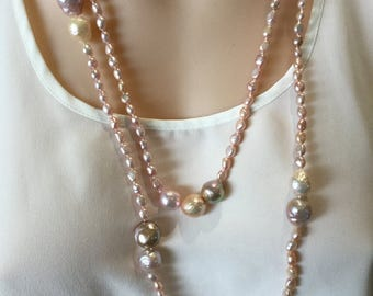 Freshwater pearl necklace/Ripple pearl necklace/Freshwater pearl rope/Ripple pearl rope/ Pearl rope/Pearl necklace/Pearl/rope/necklace/long