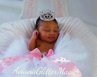 White Glitter Tutu Newborn Tutu Toddler Tutu White Tutu Pink Tutu Pink White Bow Tutu
