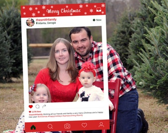 Merry Christmas Instagram Frame Photo Booth Prop (Digital File Only)