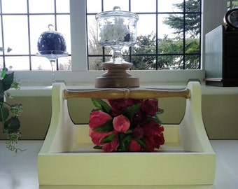 Hand Painted Wooden Trug or Glass Caddy with a polished pine handle