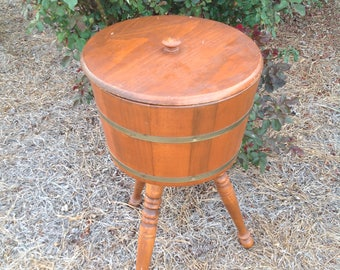 Vintage Wooden Whiskey Barrel Standing Sewing Box