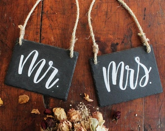 Mr and Mrs Signs, Matching hanging Mr and Mrs hanging signs, Wedding decor