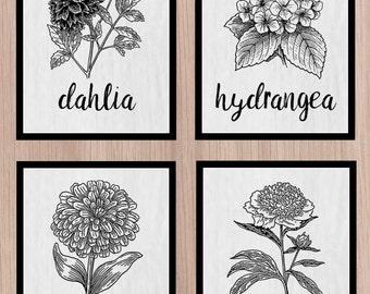 set of 4 farmhouse style seed packet prints, farmhouse, flowers, dahlia, hydrangea, peony, zinnia, rustic,