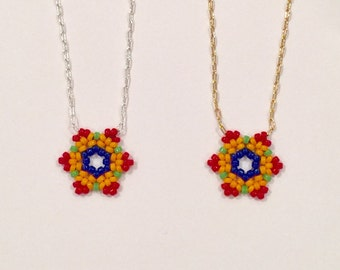 Beaded Flower Necklace with Sterling Silver or Gold Filled Chain