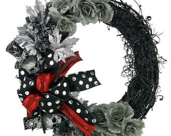 Halloween Silver Skull Wreath - Halloween Grapevine - Halloween Decor - Front Door Wreath - Holiday Decor