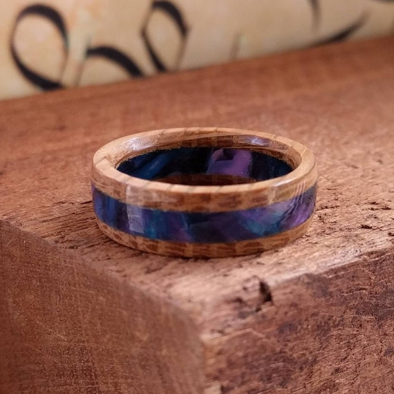 Acrylic Whiskey Barrel Wood Ring  Wood Ring Men Wood Wedding Ring  Woman Engagement Ring Anniversary