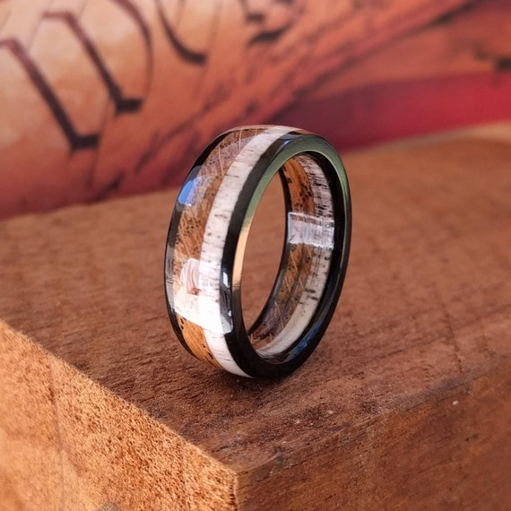 Elk Antler Wood Ring Antler Wedding Band By SparrowWoodRings