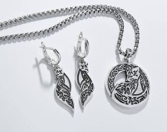 Celtic Fox,  Ethnic Fox Jewelry, Fox necklace, Ethnic Pendant,  Ethnic earrings/ Solid sterling silver (silver 925)