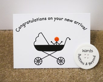 New Baby Button People Greetings Card