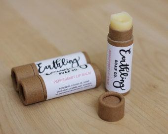 Peppermint Lip Balm - All natural handmade vegan peppermint lip balm with candelilla wax & peppermint essential oil in a biodegradable tube