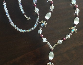 FREE SHIPPING on this Crystal Angel and Cranberry Beaded Lanyard, Badge or ID Holder