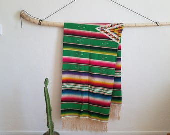 Very Large Mexican Saltillo Textile \\ 30's \\ Wool \\ Antique \\ Vintage \\ Blanket Throw Fringe Handmade Serape Cholo Rug