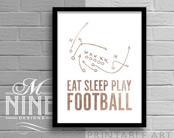 "Vintage Sports Printable Art ""Eat Sleep Play Football"" Frame Art Printable Quote Motivational Print, Inspirational Quote, Sports Décor 10VWC"