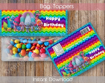 Trolls Bags Topper Trolls Party Favors Trolls Printable Bag Toppers Trolls Treat Bag Toppers Trolls Birthday Party INSTANT DOWNLOAD