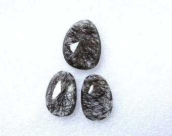 3 pieces pair BLACK Rutilated Rosecut Uneven Cabochon rosecut 21.5x16mm - 1 pcs Or 17.5x13mm -2 pcs Black Rutile Faceted Irregular Rosecut