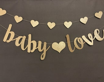 Oh Baby Banner, Baby Shower Banner, Black & Gold Baby Shower Decor, Gold Glitter, Modern Baby Shower, Pregnancy Banner, Baby Love Banner