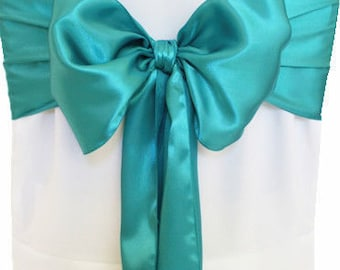 """7""""X108"""" Bluish Green Satin Sashes Chair Cover Bow Sash WIDER FULLER BOWS Wedding Party"""