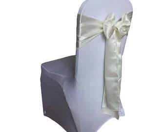 """7""""X108"""" Ivory Satin Sashes Chair Cover Bow Sash WIDER FULLER BOWS Wedding Party"""