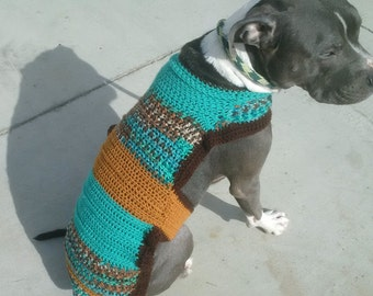 Crocheted Winter Dog Sweater. You Pick The Colors! Custom made to fit your dog! No guessing! A winter must! The Henry H. Medium & Large