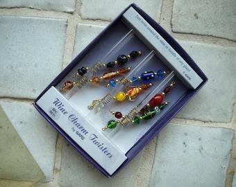 Wine Glass Twisters By Ganz Set of 6 Glass Bead Wine Charms