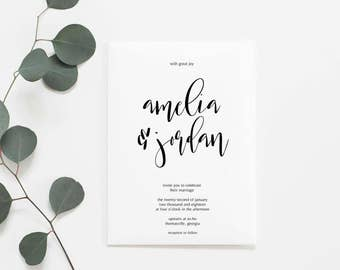 Wedding Invitations, Printable Wedding Invitation Set, Modern Wedding Invitations, Printable Invitations, Minimalist, Wedding Suite