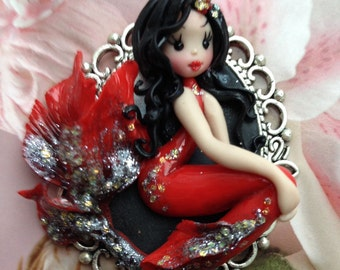 Red mermaid,polymer clay pendant,miniatures,sculptures in clay,gift for her,dolls,miniatures,sculptures in clay