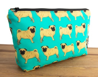 Pug Gifts - Pug Bag - Large Makeup Bag - Pug Makeup Bag - Dog Bag - Toiletry Bag - Cute Pencil Pouch - Make Up Bag - Best Makeup Bags #12