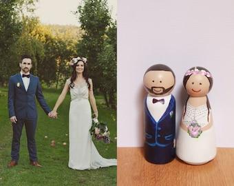 Custom Wooden Wedding Cake Topper – Bride and Groom figures