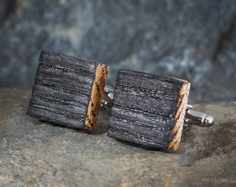 Bourbon Whiskey Barrel Wood Cufflinks - Cuff Links, Groomsmen, Best Man, 5th Wedding Anniversary Present