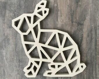 Rabbit Wall Decor Ornament, Wood, Non-toxic Paint, Satin Finish