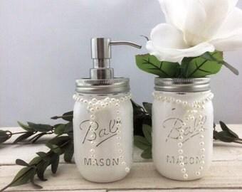 Mason Jar Soap Dispenser Set-White Mason Jar Set-Two Mason Jars