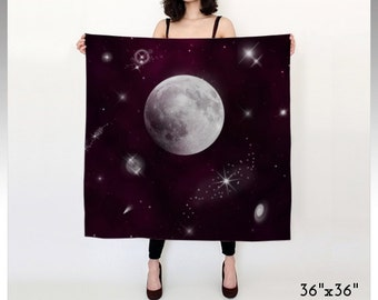 Space Scarf, Night Scarf, Purple Scarf, Galaxy Scarf, Cosmos Scarf, Square Scarf, Long Scarf, Women's Scarf, Moon Scarf, Bridesmaid's Gifts