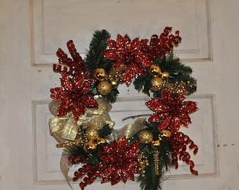 glittered red poinsettia and gold ornament wreath, red and gold Christmas wreath, Christmas wreath for front door, modern Christmas wreath