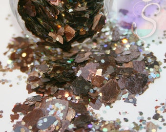 Bronze Copper Mica Chips with Holographic Brown Gold Glitter Mix, Perfect for Resin,